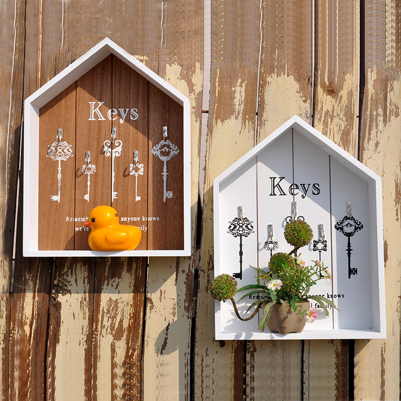ZAKAK Estilo Decoración para el hogar Cajas hechas a mano Organizador de carga Caja de almacenamiento Clave simple Colgando Bastidores de almacenamiento de madera