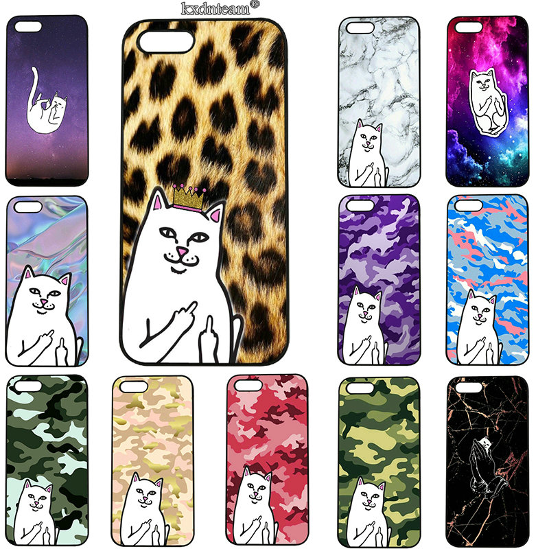 Cute Middle Finger Cat Mobile Phone Cases Hard PC Plastic Cover for iphone 8 7 6 6S Plus X 5S 5C 5 SE 4 4S iPod Touch 5 6 Shell