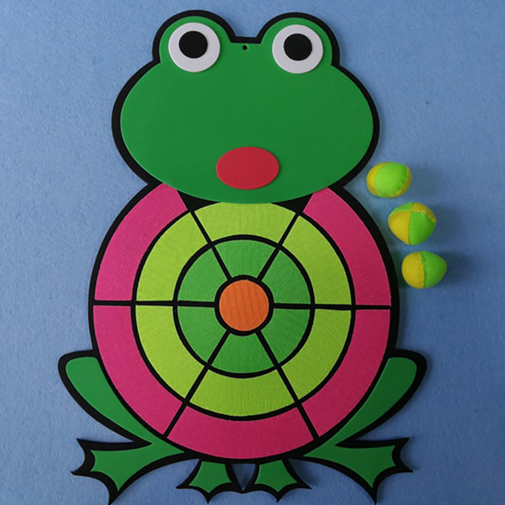Cartoon Animal Frog Sticky Ball Target Dart Board Throwing Flying Game Toy Set For Children Security Toy Gifts New