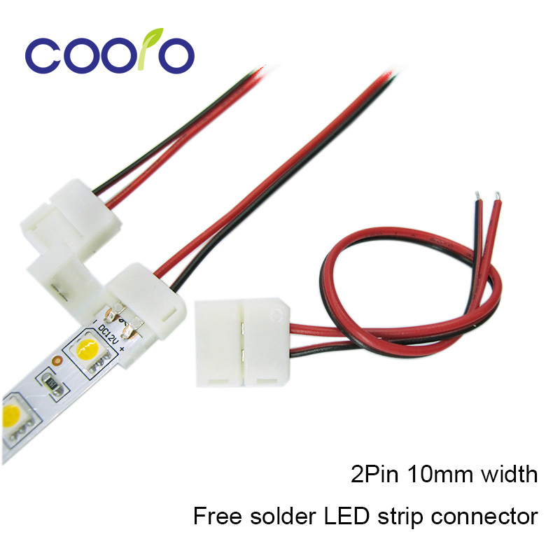 5pcs/lot,10mm 2pin LED strip connector wire for 5050,5630,5730 single color strip, free solder connector wire dc connector to 2pin 8mm 10mm connector with switch for single color led strip