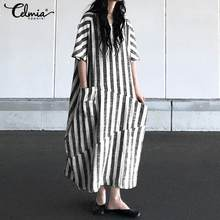 Celmia Summer Maxi Long Dress Casual Striped Short Sleeve Round Neck Pockets Loose Dress Plus Size Elegant Party Bodycon Vestido round neck long sleeve bodycon dress