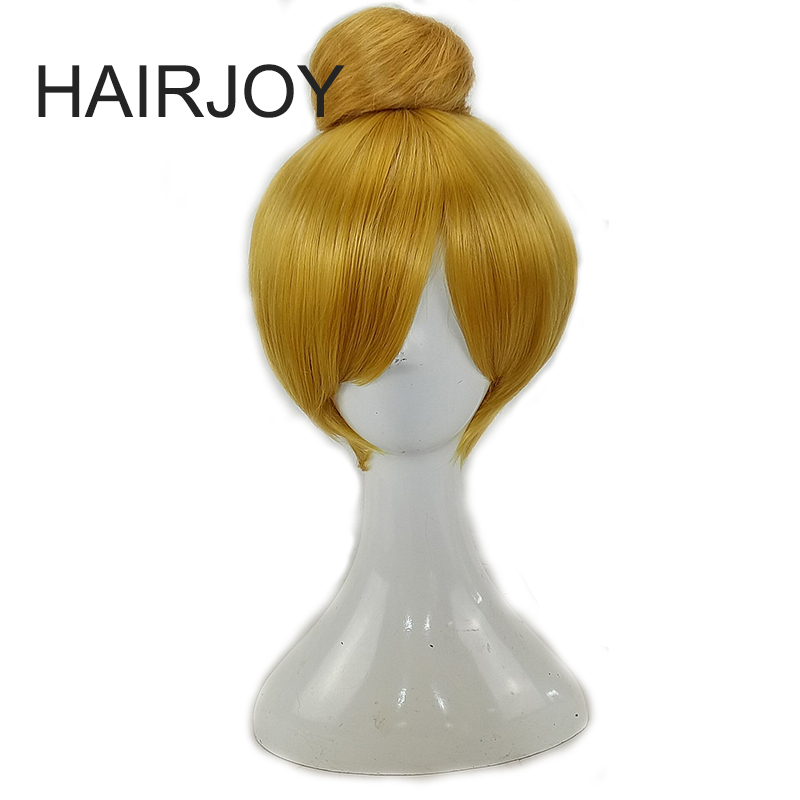 HAIRJOY  Synthetic Hair Tinker Bell Cosplay Wig with Detachable Bun Blonde Brown  Heat Resistant Costume Wigs 1