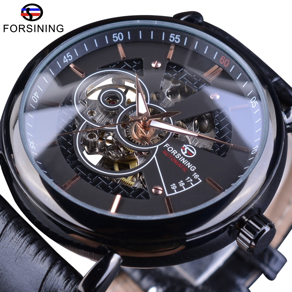 Forsining Transparent Case Avigator Series Genuine Leather Strap Fashion Skeleton Design Men Automatic Watches Top Brand Luxury forsining 3d skeleton twisting design golden movement inside transparent case mens watches top brand luxury automatic watches