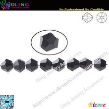 AAA Top Quality 5301 Contas Bicone talão 144 pçs/lote 8mm Preto Grânulo De Cristal Soltas Spacer Beads fit Fazer Jóias DIY
