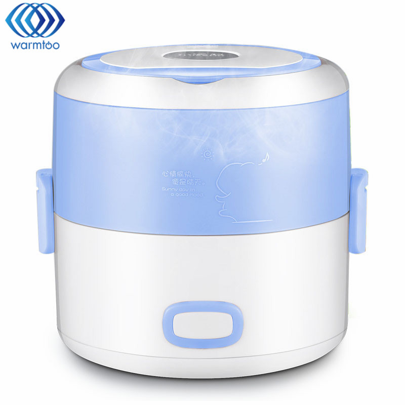 1.2L Mini Rice Cooker Electric Heating Lunch Box Stainless Steel Liner Portable Steamer Food Container Thermal Box Home