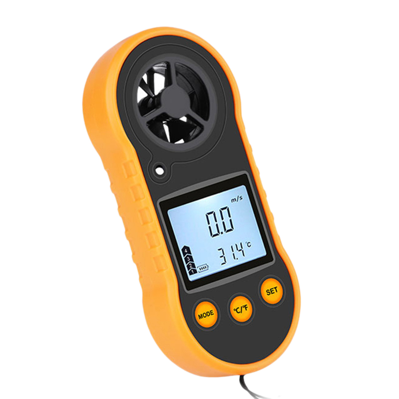 Hot Rz818 Anemometers Anemometer Lcd Digital Wind Speed Meter Portable Anemometer Sensor Wind Speed 0-30M/S Wind Meter