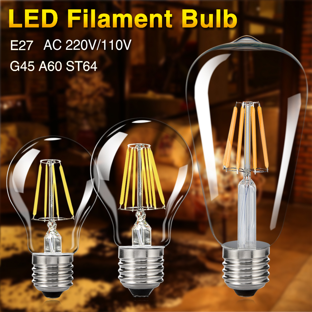 TSLEEN E27 Retro Vintage LED Edison Bulb LED Lamp G45 A60 ST64 Filament Light 4W 8W