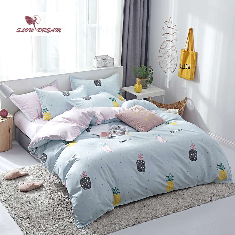SlowDream Pineapple Bedding Set Double Bedspread Flat Sheet 3/4PCS Duvet Cover Comforter Bed Linen Home Textiles