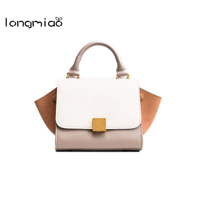 longmiao New Women Hit Color Wing Bag Female PU Leather Shoulder Bag Brand Designer Handbag High Quality Ladies Crossbody bags