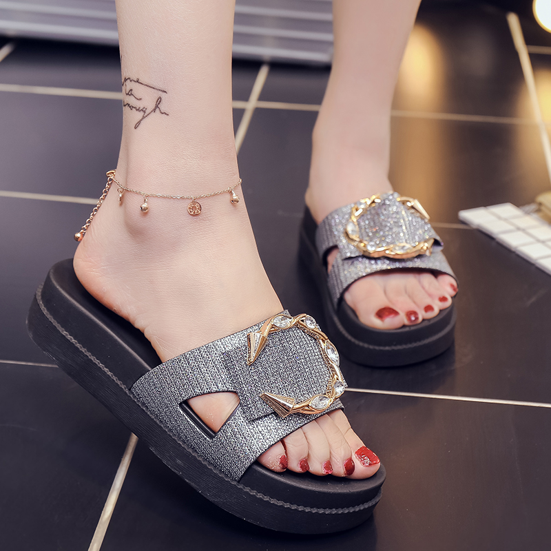 Women Slippers Ladies 39 thick soled Rhinestone metal buckle non slip slippers Casual fashion sandals slippers Beach Flip Flops in Slippers from Shoes