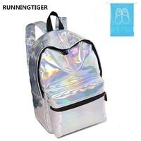 Silver Hologram Laser Women Backpack PU Leather Holographic Backpack For Girls Multicolor Waterproof Student School Bag For Girl
