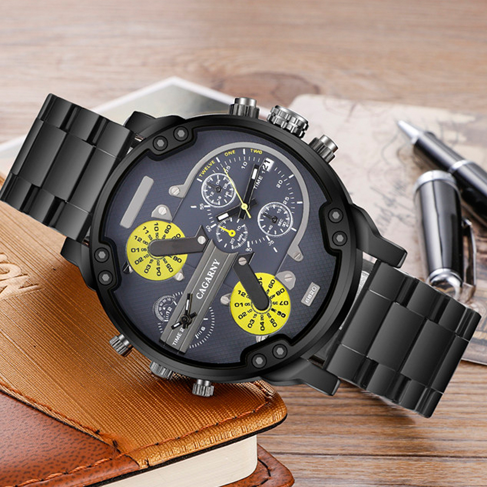 very cool dz big case mens watches full steel band dual time zones miltiary watch men quartz wrist watch free shhipping (2)