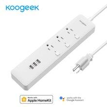 Koogeek tira de potencia de salida inteligente controlada individualmente por Wi Fi con 3 puertos de carga USB para Apple HomeKit, mando a distancia