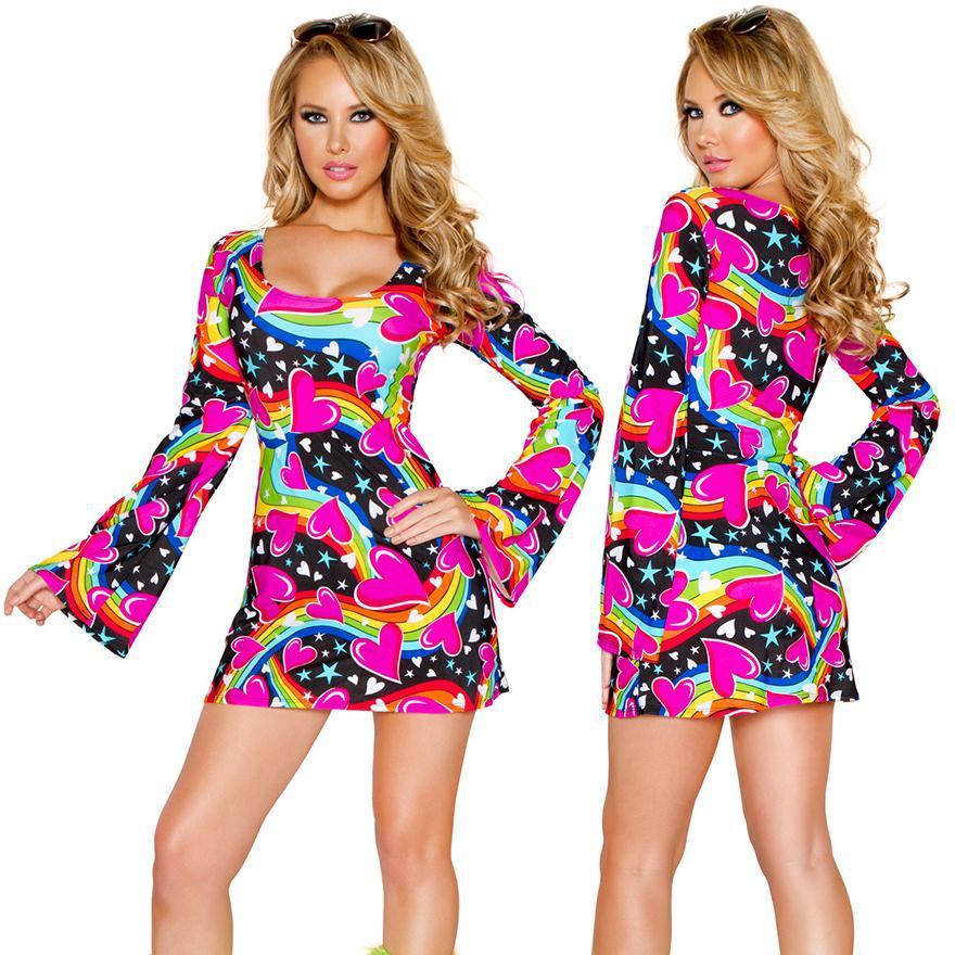 Retro Vintage Girl Dress Halloween Cosplay Adult Costume Hippie Clothes  Dress Night Club DS Girl Hippie Performance Dress b59e9db1d8b8