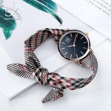 Shengke наручные Для женщин холст ремень женские винтажные часы плед классические часы тканевые Часы Relogio Feminino рождественские подарки