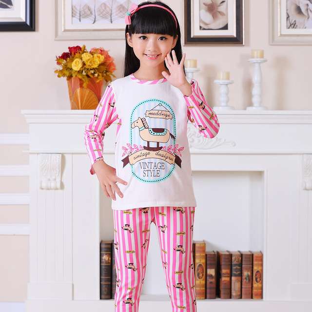 921640a9d880 Korean spring little girls pyjamas long-sleeved cotton pajamas child cute  cartoon pink pants suit sleepwear enfant costume P529