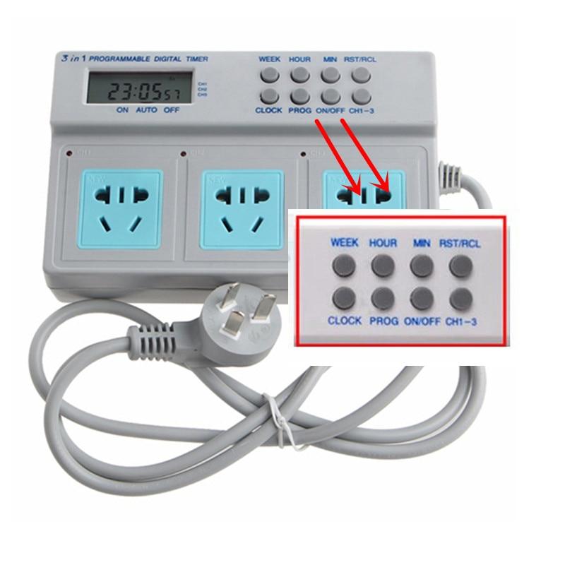3 in 1 Programmable LCD Digital Timer Socket Fish Tank Power Time Control For Aquarium Light Heater Filter Wavemaker Dosing Pump
