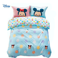 DISNEY TSUM comforter bedding set cute mickey minnie mouse duvet cover girl child bed linenes 100% cotton flat fitted sheet blue