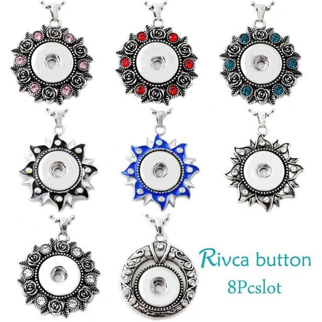 P00638-8 Wholesale Mix Necklace Female's Sweater Fit 18mm Rivca Snap Button Retro snap button Pendant Necklace