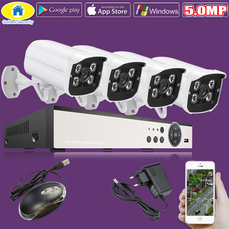 Golden Security 4CH 5.0MP HDMI DVR 1920P HD Outdoor Surveillance Security Camera System 4 Channel CCTV DVR Kit AHD Camera new super 4 channel hd ahd 3mp home outdoor security camera system kit 6led array video surveillance 1920p cctv camera system
