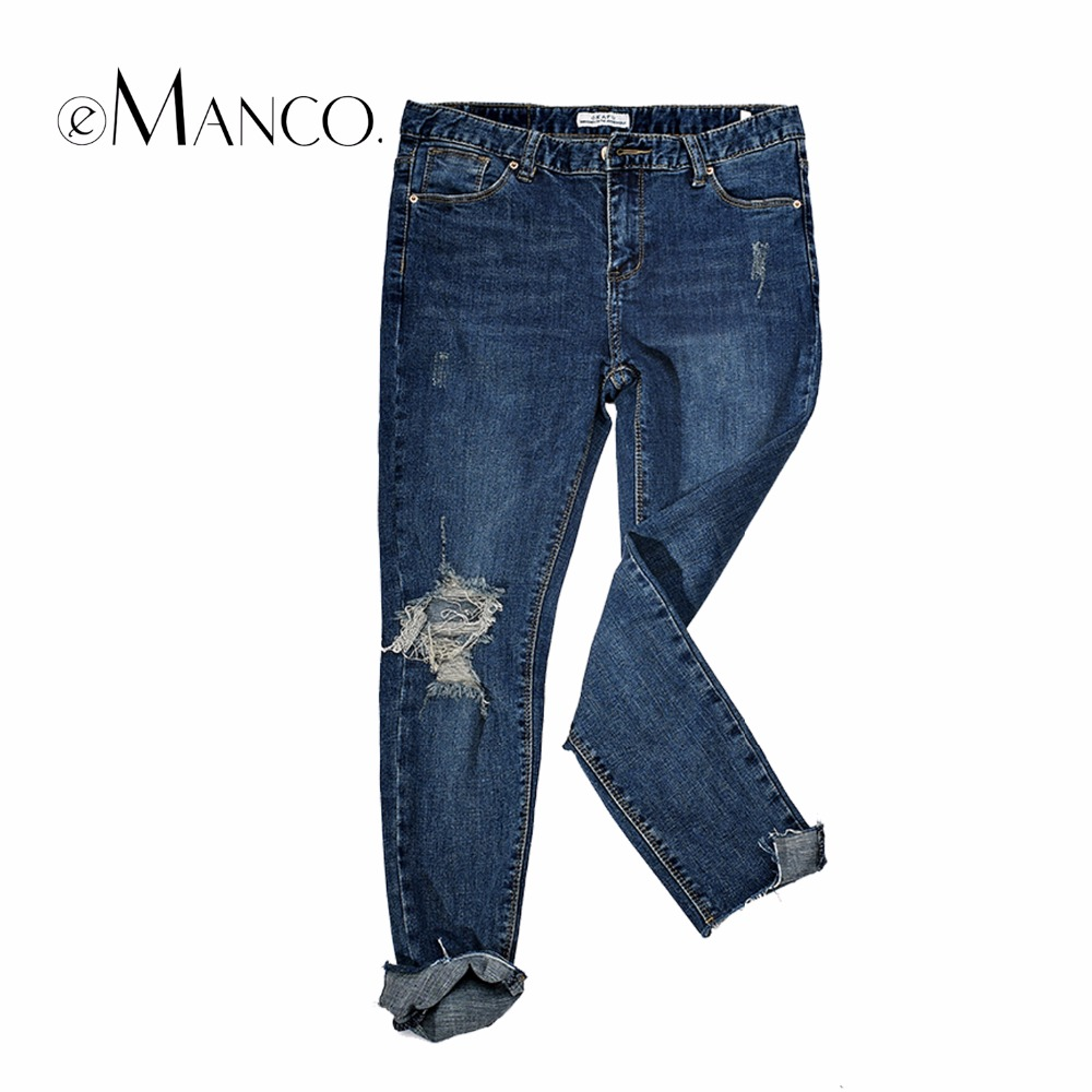 ФОТО e-Manco M-XL Size Popular Hollow-out Ripped Jeans for Women Blue Straight Trousers Pants Warm Women's Clothing