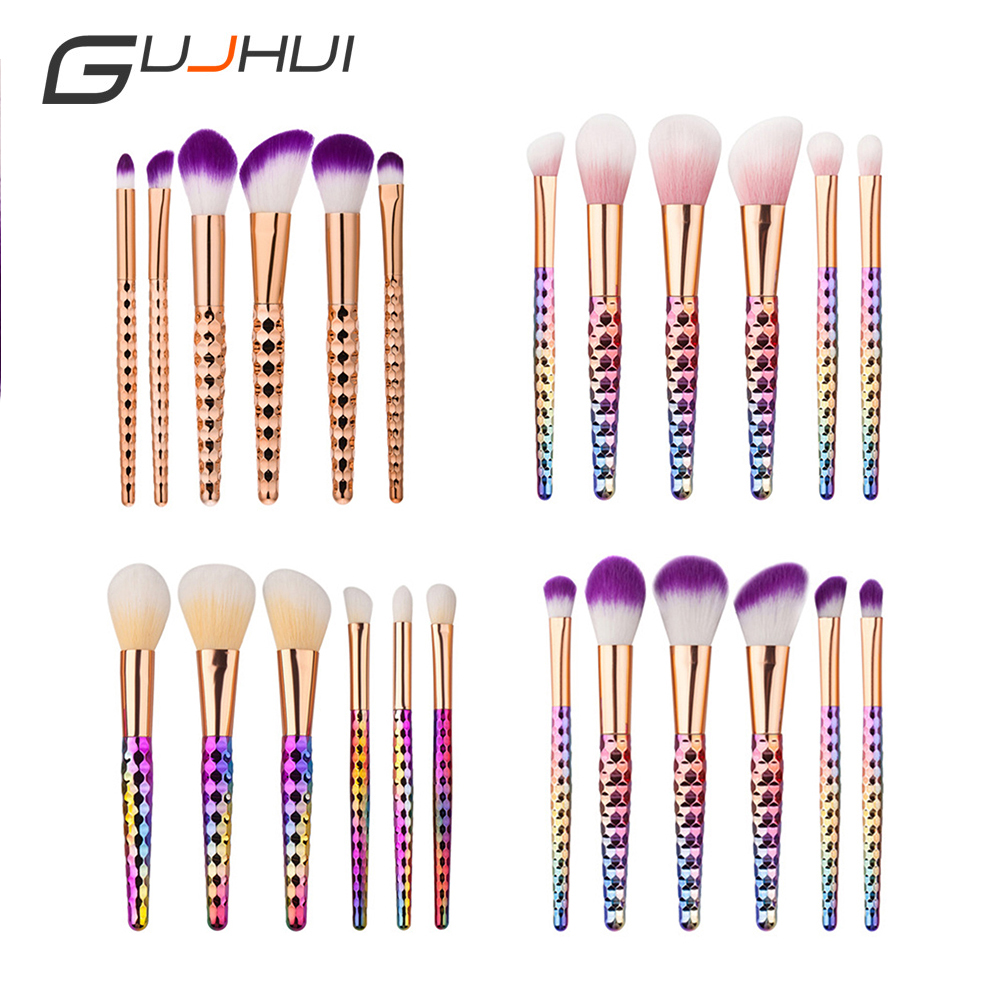 6Pcs Pro Unicornio Makeup Brushes Set Cosmetics Contour Face Foundation Powder Blush Brush Pincel Maquiagem Make Up Tool Kits 12pcs makeup brushes professional make up brush set pincel maquiagem for beauty blush contour foundation cosmetics