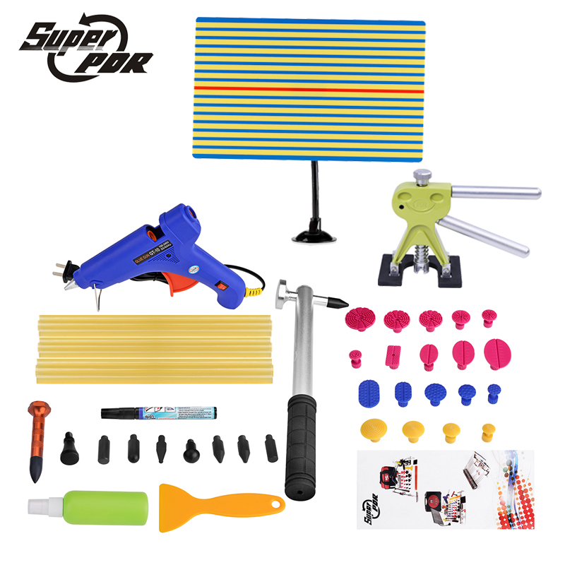 Super PDR dent removal tool kit yellow line Reflector board dent puller glue gun scratches repair pen tap down hammer hand tool pdr tools dent removal car dent repair led lamp reflector board led light reflection board with adjustable holder
