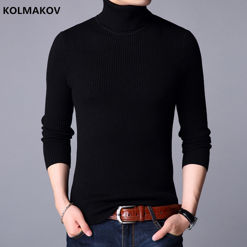 Winter Thick Warm 100% Cashmere Sweater Men Turtleneck Brand Mens Sweaters Slim Fit Pull ...