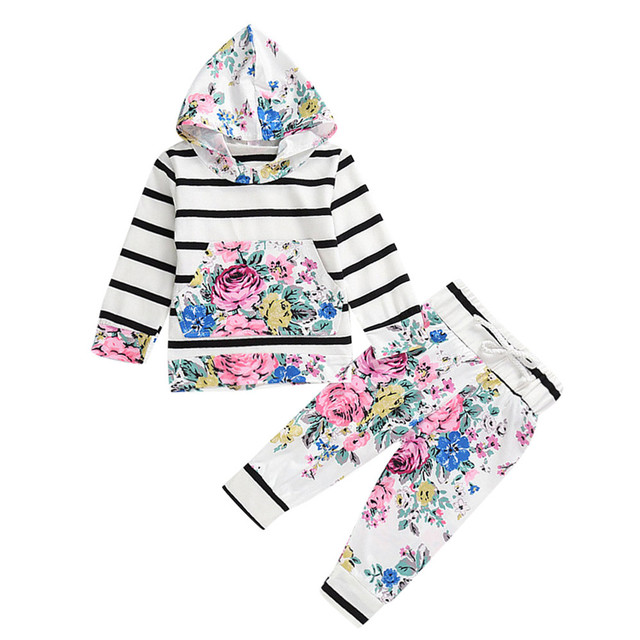New Arrival 2PCS Newborn Infant Boy&Girl High Quality Floral stripe Hooded Tops+Pants Outfits Cotton Clothes Set Children Suit