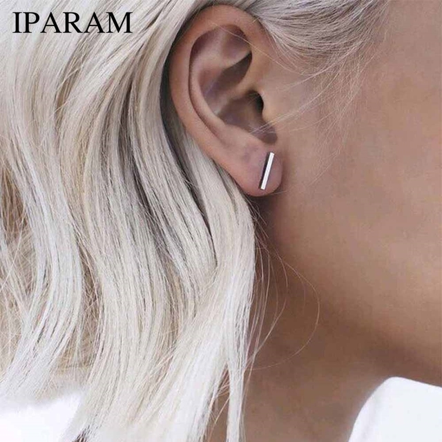2451faf46 IPARAM 2018 Punk Black Gold Silver Earrings Simple T Bar Earring Women Girl  Ear Stud Earrings Fine Jewelry Brincos Bijoux Femme