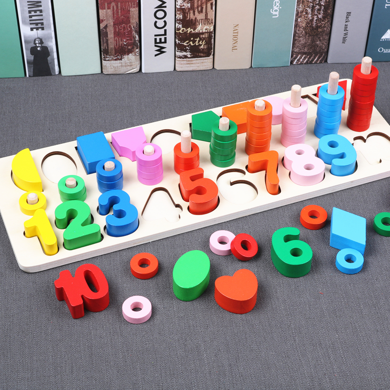 Montessori Educational Math Toys Rainbow Rings Preschool Geometry Shape Counting Stacking Board Teaching Aids Wooden Toys montessori math toys montessori materials preschool geometry constructive triangles color equilateral triangle ud2065h