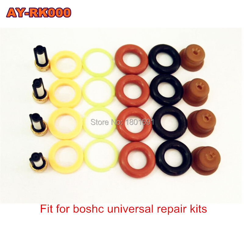 4pieces/set Fuel injector repair kit /injector parts for bosch universal including micro filter oring plastic gasket pintle cap 200sets high quality universal type fuel injector filter repair service kits fuel injector basket filter seal printle cap spacer