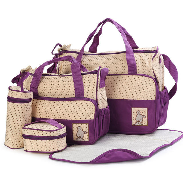 Nueva Alta Calidad 5 cada/set mano bolsas Del Pañal Durable Bolsa Nappy Momia Bolsas Bolsa de Bebé para la Mamá de 8 Colores