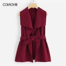 COLROVIE бургундское однотонное ДРАПИРОВАННОЕ элегантное пальто без рукавов с поясом Женская одежда Весенняя офисная винтажная женская верхняя одежда
