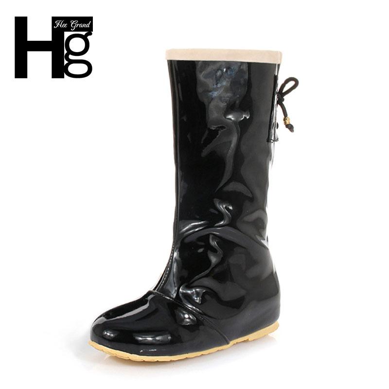 HEE GRAND Women Rain Boots Candy Color Mid-calf Invisible Height Increasing Slip On Waterproof Shoes Woman XWX4219 юбка candy rain c15ab5688 2015