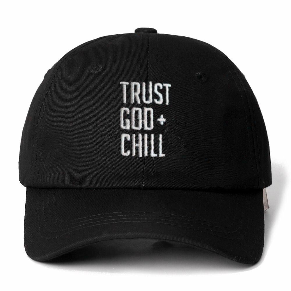 High Quality Brand TRUST GOD + CHILL Snapback   Cap   Cotton   Baseball     Cap   For Men Women Adjustable Hip Hop Dad Hat Bone Garros