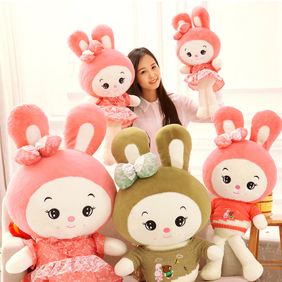 Kawaii Rabbit Doll Soft Toy Rabbit Baby Stuffed Animal Peluches Grandes Girls Gifts Birthday pink Bunny Plush Big 70C0448 90cm large stuffed plush rabbit toy korea long arms rabbit soft doll super cute
