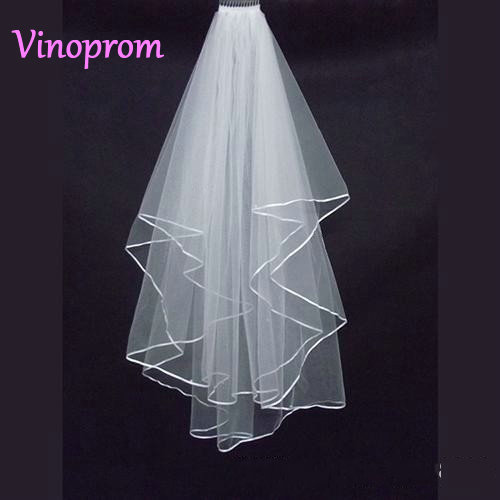 2018 In Stock White And Ivory Ribbon Edge Tulle Wedding Bridal Veil Wedding Accessories Bride Veils With Comb