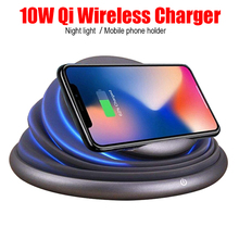 Universal LED Light Mood Flashing Wireless Charger Holder Fashionable Charging Station for Samsung S9 S8 IPhoneX 8 Plus
