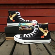Anime Pokemon Converse Chuck Taylor Black Girls Boys Shoes Pidgeot Hand Painted Canvas Sneakers Men Women