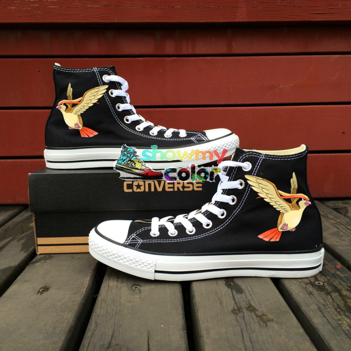 Anime Pokemon Converse Chuck Taylor Black Girls Boys Shoes Pidgeot Hand Painted Canvas font b Sneakers