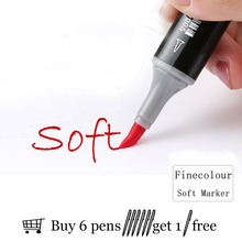 Professional Brush FINECOLOUR Art Marker Twin Tip Soft Brush/Oblique Alcohol Ink Comic Design Supplies EF102