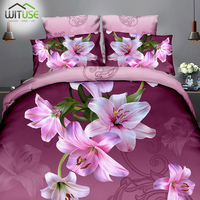 soft skin friendly fabric queen bedding sets 3d quilt duvet cover pillowcase set flowers printing for decorated family bedroom