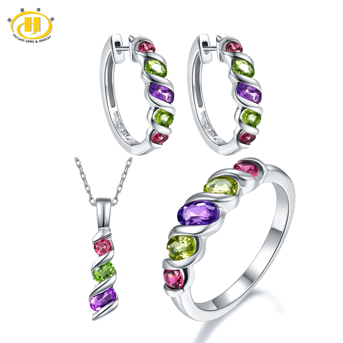Hutang New Fashion Design Colorful Gemstone Jewelry Sets for Women Solid 925 Sterling Silver Jewellry Ring Pendant Earrings Gift