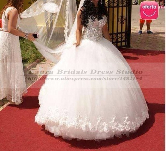 Vestido Casamento Dress 2014 Tulle Bling Ball Gown Wedding Dresses 2015 China Elegant Pnina Tornai