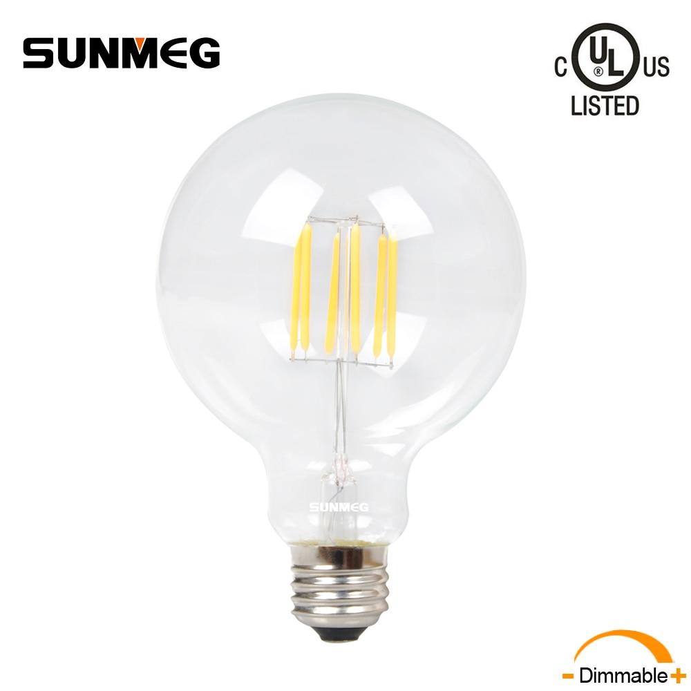 SUNMEG Retro Dimmable Filament LED Lights Edison Bulb G95 4W 110V E26 Base Antique Style 2700K Lamp For Home Decoration