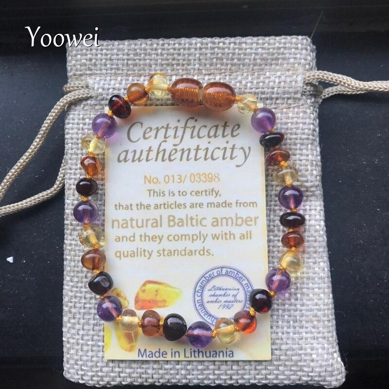 Yoowei 9 Couleur Bébé Ambre Bracelet/Collier Naturel Améthyste Gems Adulte Bébé de Dentition Collier Ambre de La Baltique Bijoux En Gros