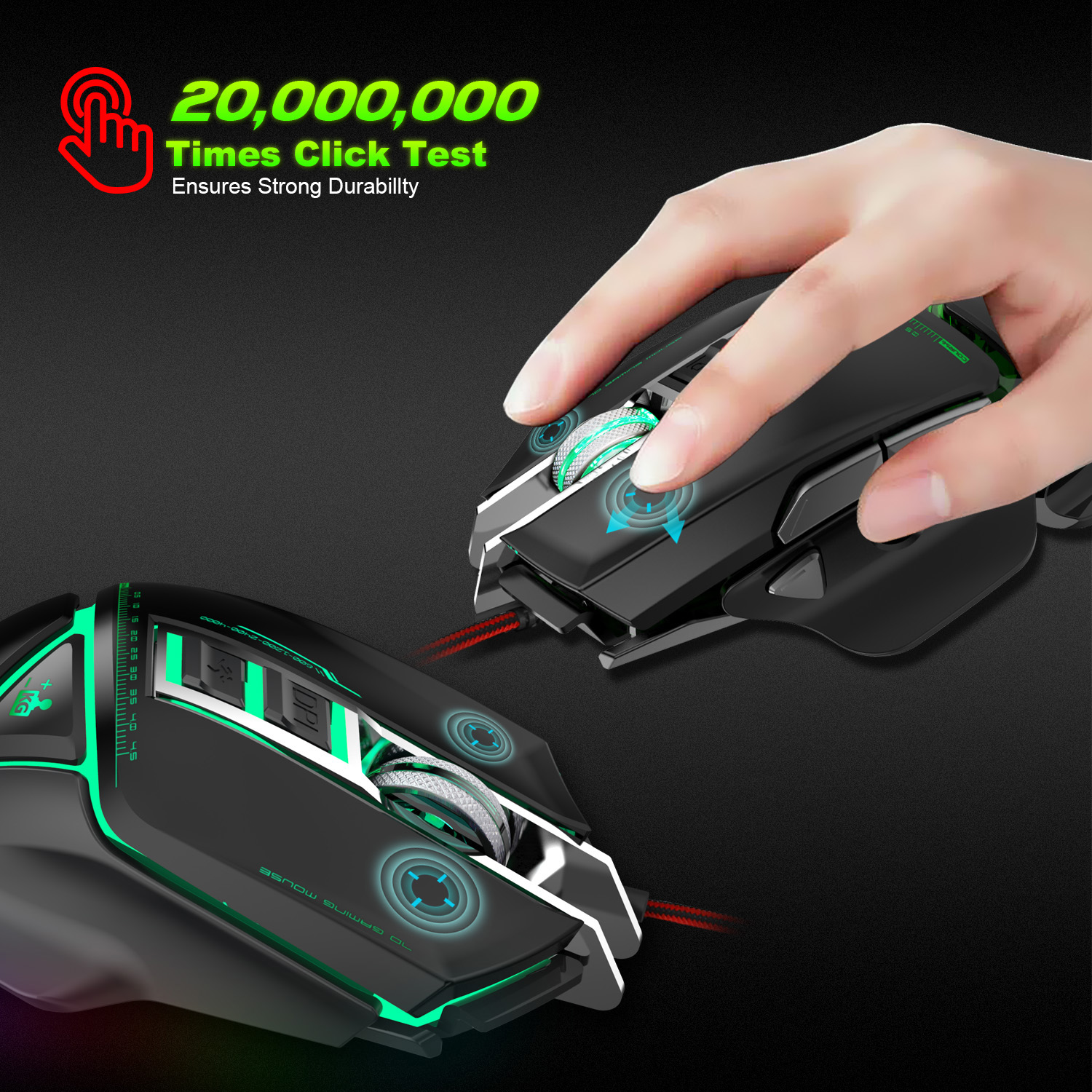 ZERODATE USB wired mouse Ergonomics 3200DPI adjustable Mechanical Mouse Beetle Creative 3D Gaming Mice RGB Cool Backlight Night in Mice from Computer Office