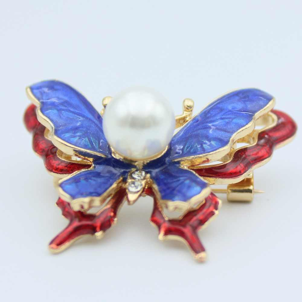 Bros Kupu-kupu Biru untuk Wanita Aksesoris Kerah Pin Bros Mutiara Logam Hijab Pin Lencana Lucu Trendi Anak-anak Enamel Pin Perhiasan