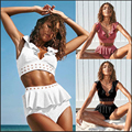 Fxbikinny biquíni de cintura alta, 2019, feminino, babados, conjunto de duas peças, maiô push up, roupa de banho, moda praia